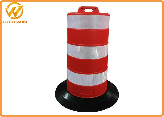 Road Safe Channelizer Plastic Traffic Barriers with HDPE Drum Material Rubber Base