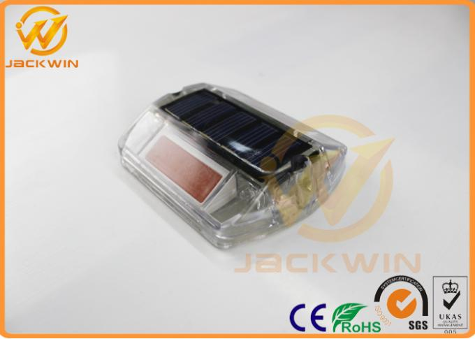 Traffic Safety Waterproof Ip68 Solar Road Stud , Amber Plastic Road Reflector
