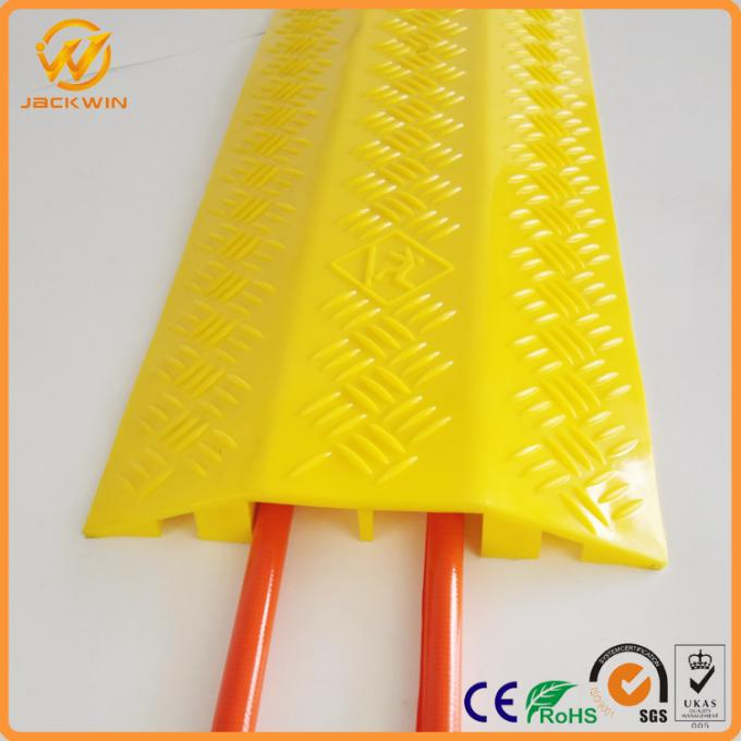 2 Ways Floor Cable Protector Ramp Light Duty Plastic Yellow Jacket Cord Cover