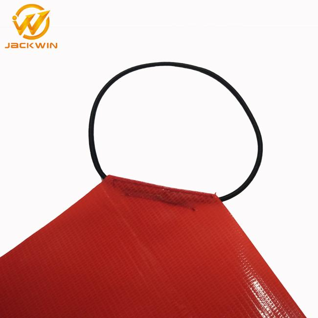Durable Hi Vis Pvc Safety Orange Warning Flag With Square Shape  For Traffic Security
