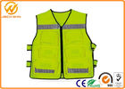 China Construction Reflective Work Vests , Velcro Highway Safety Vest with Pockets factory