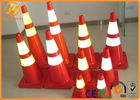 Orange / Yellow 28 Safety Cones , Flexible PVC Traffic Reflective Coloured Traffic Cones