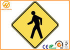 Customized Traffic Warning Signs , Yellow Reflective Pedestrian Warning Sign