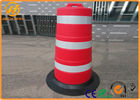 Big Road Safety Control Plastic Traffic Barriers / Drum With Rubber Base