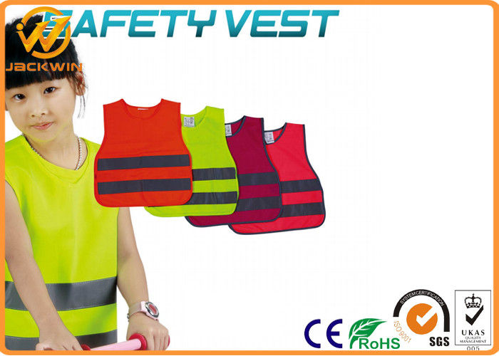 Reflective Kids High Visibility Vest with Fluorescent Yellow Polyester Material