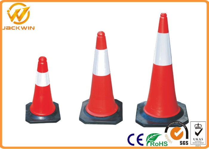 50cm / 75cm / 100cm Reflective Traffic Safety Cones with Black Rubber Base