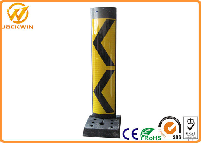Reflective Vertical Traffic Delineator Post Bollard With Rubber Base For Roadside Safety Warning