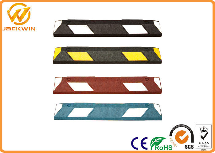 Car Rubber Wheel Stopper with Yellow Reflective Tape Easy Installation.