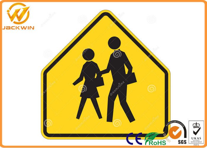 Yellow Reflective School Pedestrian Crossing Sign with Aluminum Plate Material
