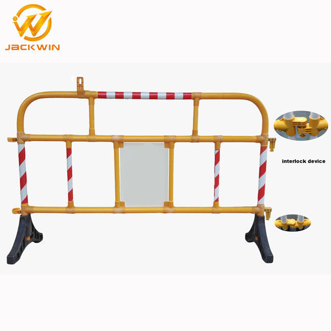 Safety Plastic Traffic Barriers , PVC Portable Road Barriers Control Size 1500*1000mm