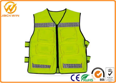 China Construction Reflective Work Vests , Velcro Highway Safety Vest with Pockets distributor
